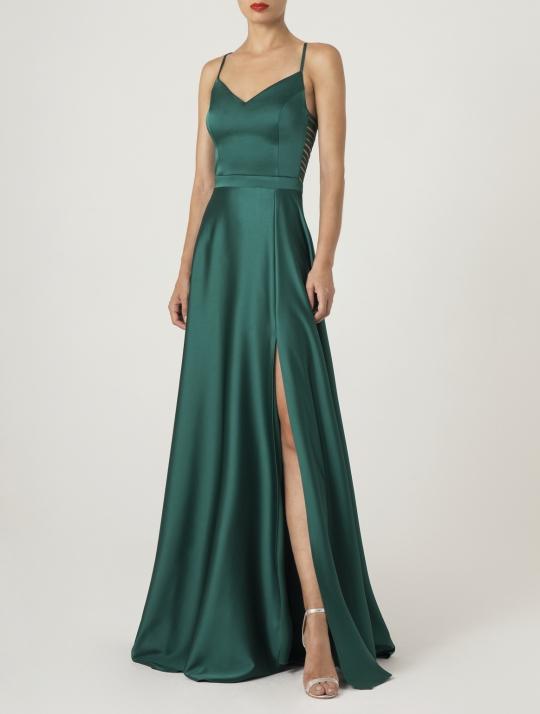 Smaragdgrünes Satin Abiballkleid lang. Traumhaft elegant und sexy - Frontansicht