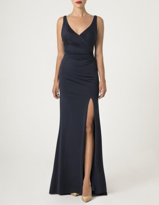 Elegantes schwarzes Meerjungfrau Abiball Kleid, lang. Dieses Abendkleid ist raffiniert geschnitten, sehr figurbetont und hat einen sehr schönen Rücken und einen hohen Beinschlitz - Front