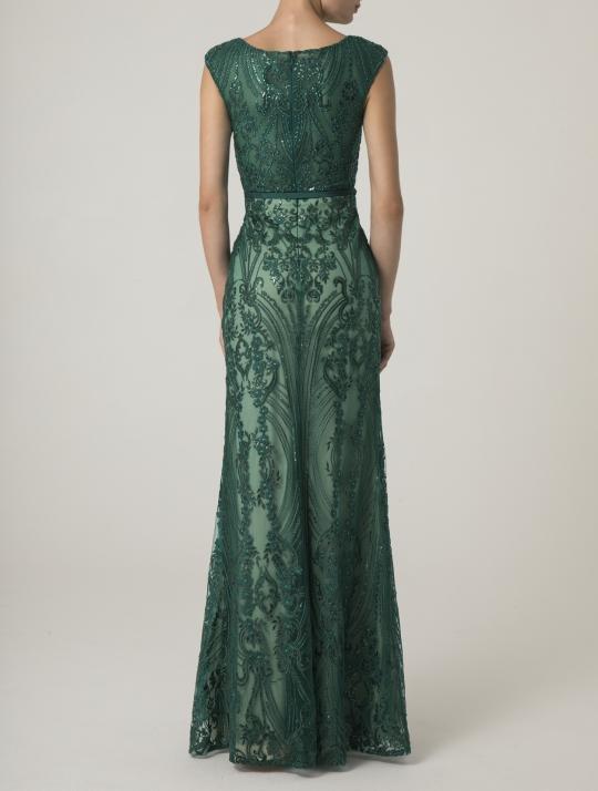 Meerjungfrau Abiballkleid lang. Grün, Glitzer und sehr figurbetont - Rücken