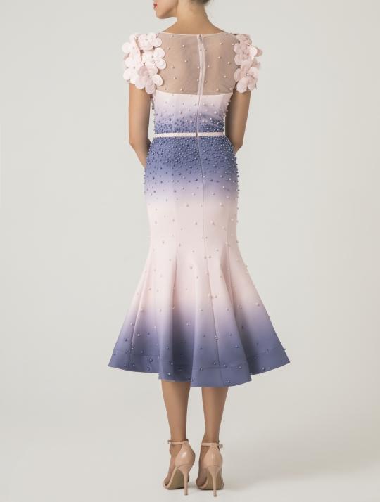 Figurbetontes kurzes Cocktailkleid für festliche Anlässe. Ideales Kleid als Hochzeitsgast, für Partys, als Brautmutter oder Trauzeugin. Ruckansicht