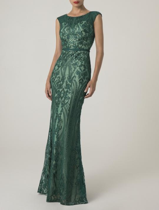 Meerjungfrau Abiballkleid lang. Grün, Glitzer und sehr figurbetont