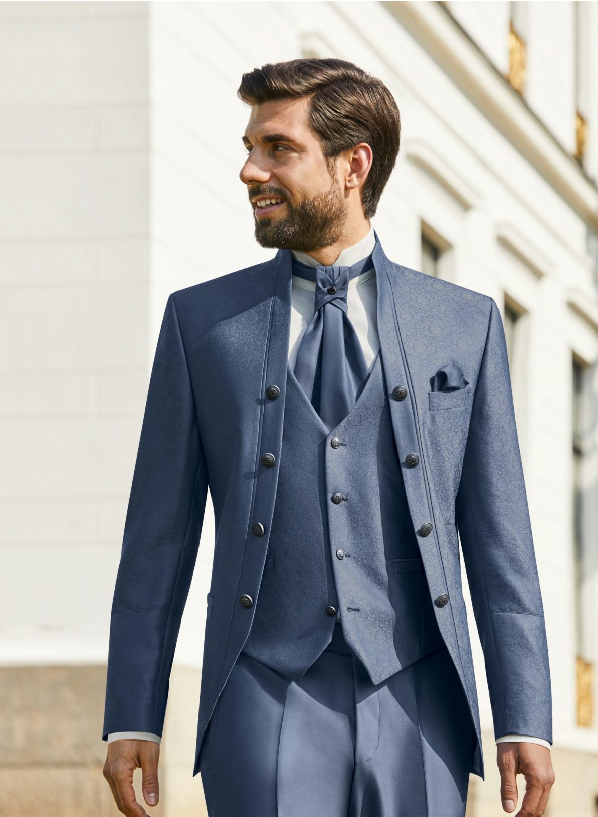 Wilvorst Tziacco Hochzeitsanzug Männer Mode Bräutigam extravagant mittelblau hellblau wil_0121_kam_tz-Look4_1