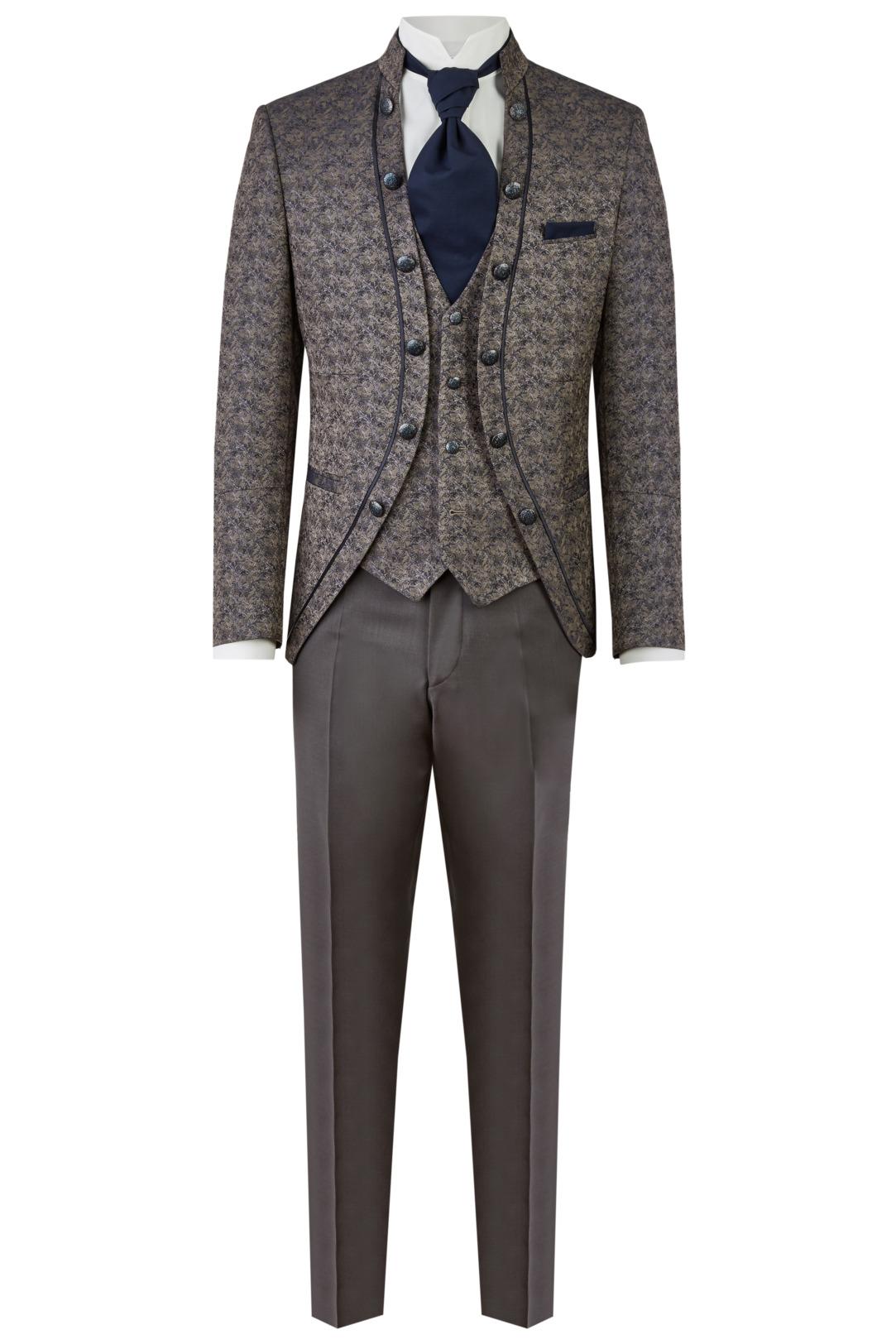 Wilvorst Tziacco Hochzeitsanzug Männer Mode Bräutigam extravagant braun mit gemustertem Jacket wil_0121_otf_tz-look-1_1
