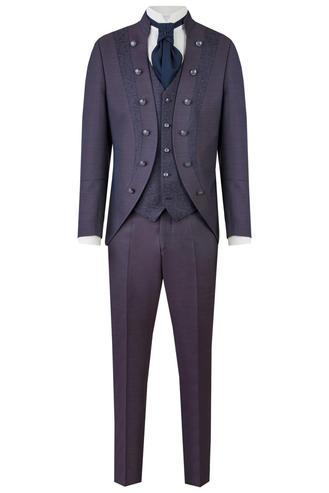 Wilvorst Tziacco Hochzeitsanzug Männer Mode Bräutigam extravagant rot blau mit Ziereinsätzen wil_0121_otf_tz-look-2_1