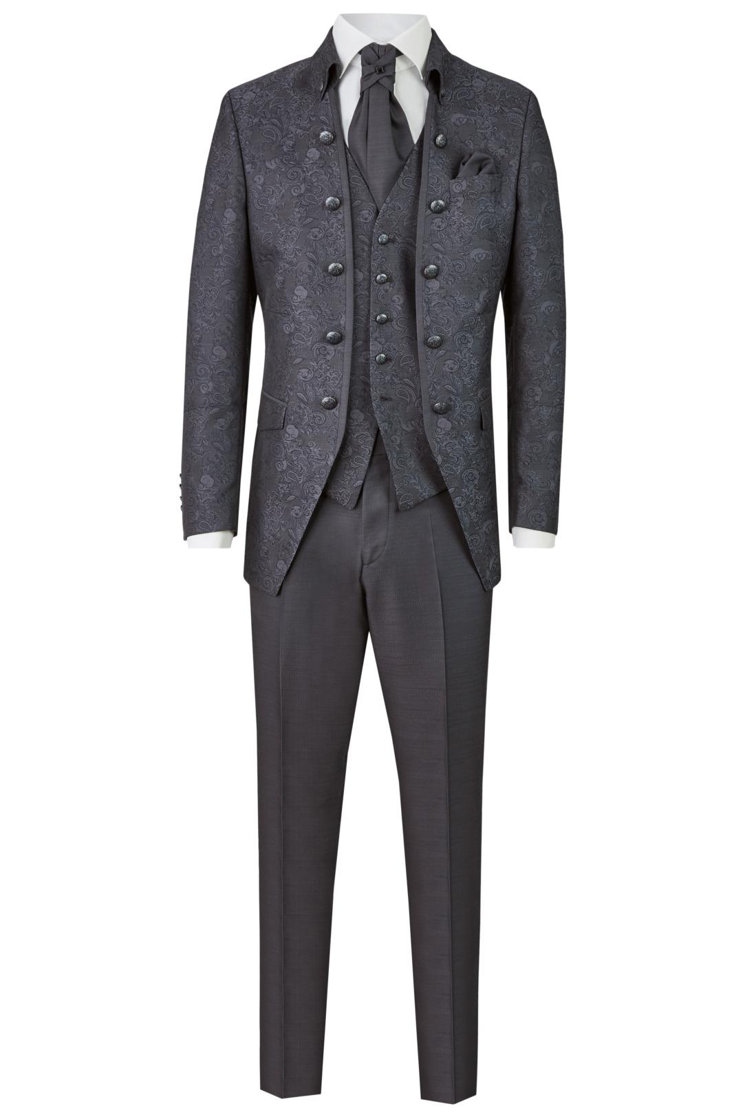 Wilvorst Tziacco Hochzeitsanzug Männer Mode Bräutigam extravagant dunkelgrau antrazith mit gemustertem Jacket wil_0121_otf_tz-look-7_1