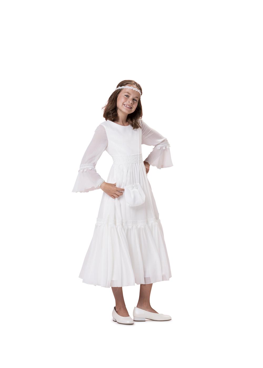 Biancorella Langarm Kommunionkleid Vintage - Modell 520060. Top modern dieses Kleid im Vintage Look! Mit langen Ärmeln vielen süßen Details.