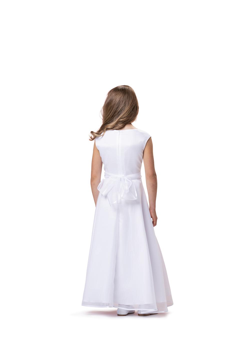 Kommunionkleid lang von Biancorella - Modell 554700. Klassisches Kommunionkleid mit rundem Ausschnitt - bodenlang. Rückenansicht.
