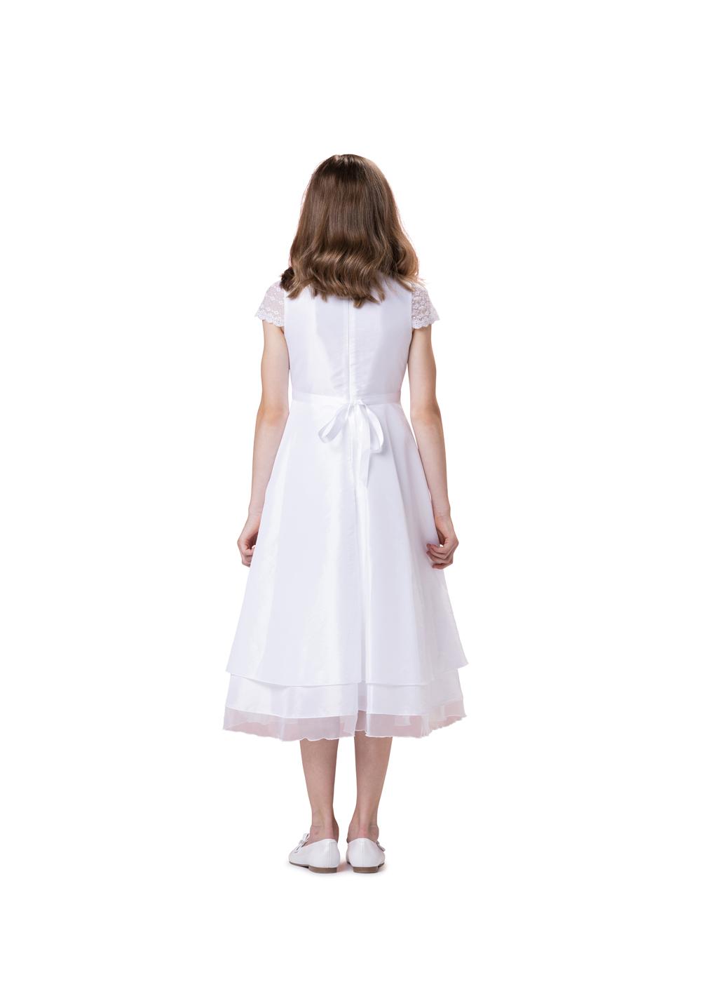 Biancorella Kommunionkleid in Satin und Spitze - Modell 554740. Klassisches Kleid mit Satinoberteil und wunderschönen Spitzenärmeln und 2 stufigem Rock.Rückenansicht.