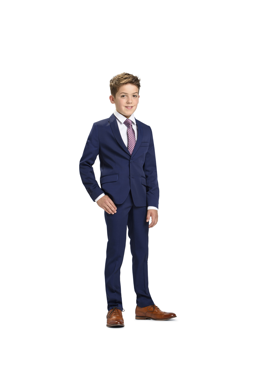 Schicker moderner Kommunion Anzug für Jungen von Weise Junior - Modell 7516552. Perfekt sitzender Anzug in dunkelblau mit weißem Hemd und Krawatte.