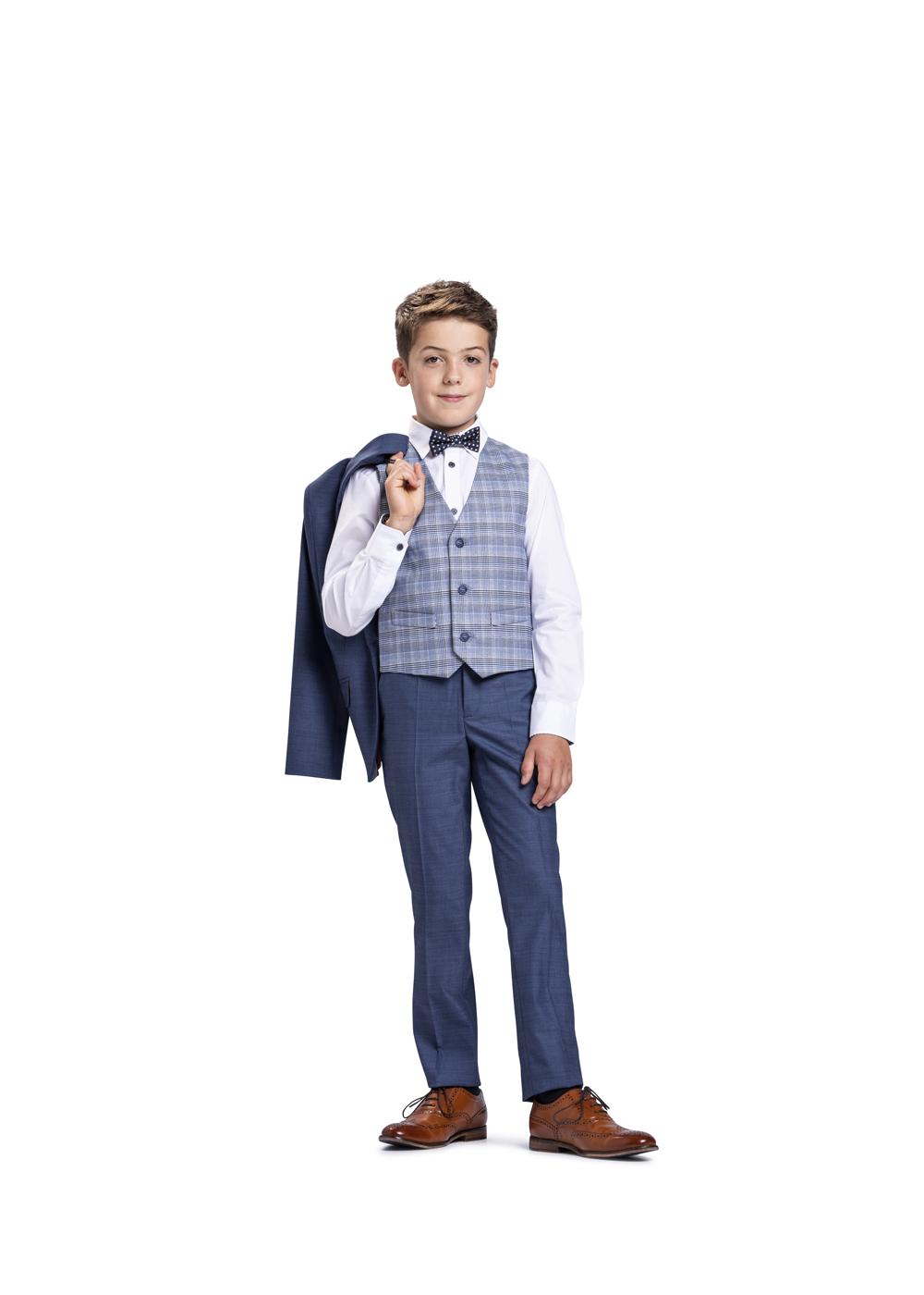 Modern und klassisch - Kommunion Anzug für Jungen von Weise Junior - Modell 7517551. Nochmal der klassisch moderne Anzug mit karrierter Weste.