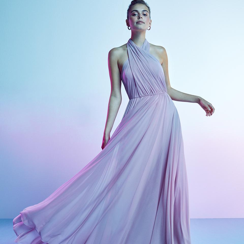 Traumkleid zum Abiball - lang in rosa-flieder aus fließendem Chiffon. Abendkleid von Vm By Vera M Spring Summer 2021 Original Vm Social Media 960x960 9